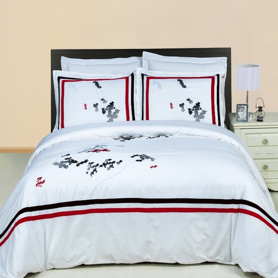 Florence Embroidered 100% Cotton 3-Piece Duvet Cover Set