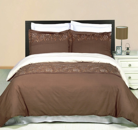 Geneva Embroidered 100% Cotton 3-Piece Duvet Cover Set