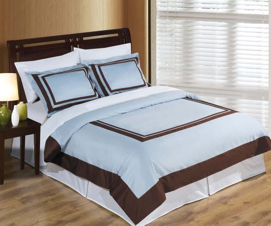 Hotel Blue and Chocolate Egyptian Cotton Duvet Cover Set