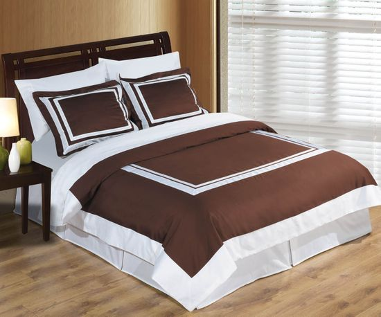 Hotel Chocolate and White Egyptian Cotton Duvet Cover Set