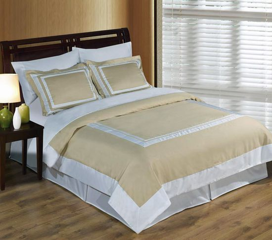 Hotel Linen and White Egyptian Cotton Duvet Cover Set
