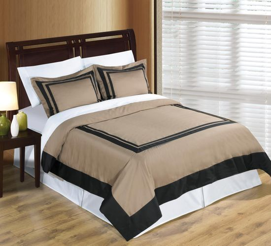Hotel Taupe and Black Egyptian Cotton Duvet Cover Set