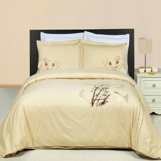 Katella Embroidered 100% Cotton 3-Piece Duvet Cover Set