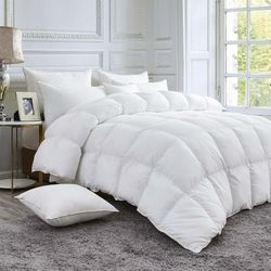 LUXURIOUS GOOSE DOWN Comforter Duvet Insert, 100% Egyptian Cotton Cover, 750+ Fill Power, 50 oz - 60 oz Fill Weight, White Color