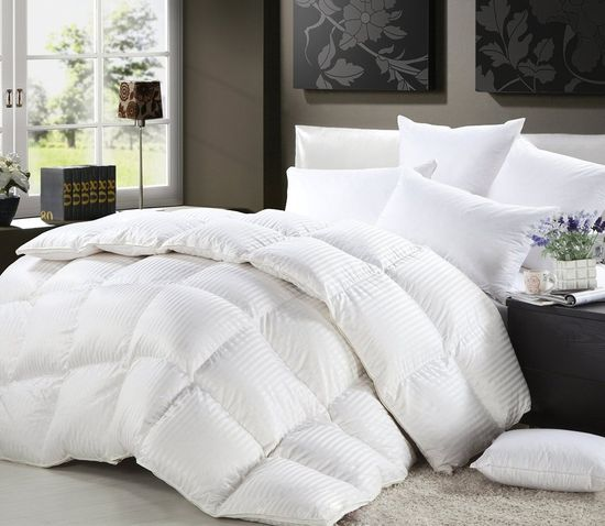 LUXURIOUS Siberian Goose Down Comforter All-Season Duvet Insert, Premium Baffle Box, 1200 Thread Count 100% Egyptian Cotton, White Damask Stripe