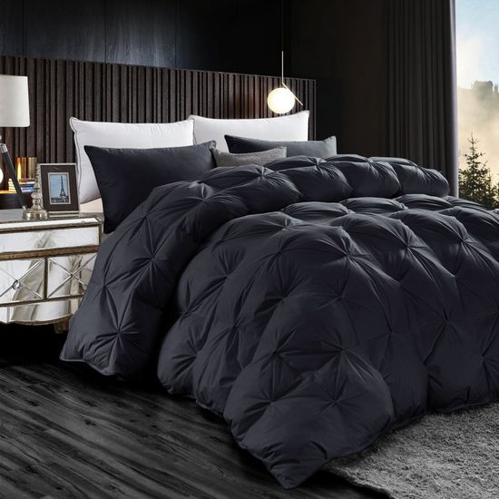 Luxurious All-Season Black Pinch Pleat Oversize Goose Down Comforter Duvet, 750+ Fill Power, 1200 Thread Count 100% Egyptian Cotton