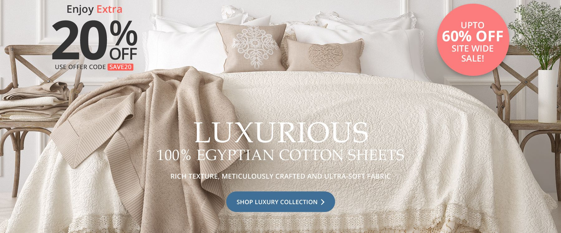 Luxurious - 100% Egyptian Cotton Sheets - Rich Texture, Meticulously Crafted and Ultra-Soft Fabric