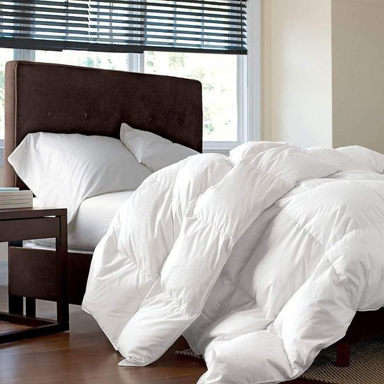 LUXURIOUS FULL / QUEEN Size Siberian GOOSE DOWN Comforter, 1200 Thread Count 100% Egyptian Cotton 750FP, 50oz, 1200TC, Hypoallergenic, White Solid
