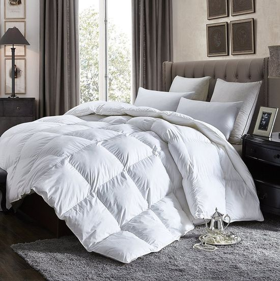 Luxurious Lightweight GOOSE DOWN Comforter Duvet Insert All Season, 1200 Thread Count 100% Egyptian Cotton, 750+ Fill Power, 30 oz - 42 oz Fill Weight, Hypoallergenic, White Color