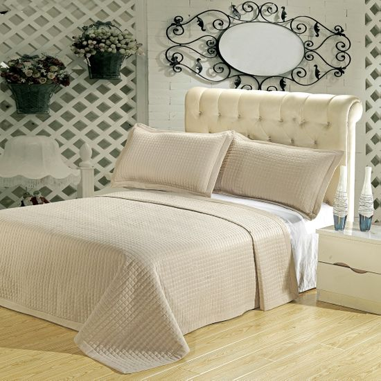 Luxury Beige Checkered Quilted Wrinkle Free Microfiber 3 Piece Coverlet Set