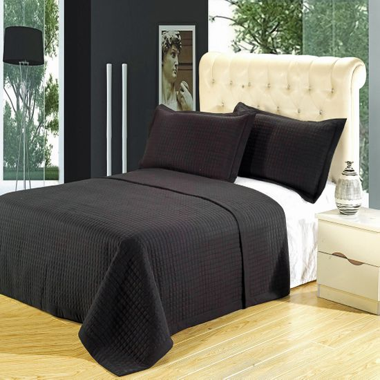 Luxury Black Checkered Quilted Wrinkle Free Microfiber 2 Piece Coverlet Set