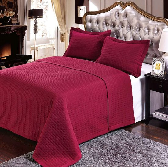 Luxury Burgundy Checkered Quilted Wrinkle Free Microfiber 3 Piece Coverlets Set