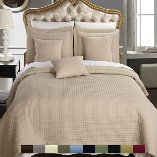 Luxury Checkered Quilted Wrinkle-Free Multi-Piece Bedspread Set