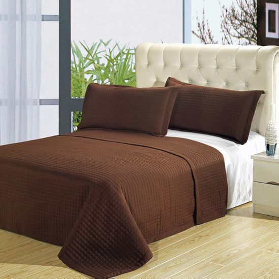 Luxury Chocolate Checkered Quilted Wrinkle Free Microfiber 3 Piece Coverlet Set