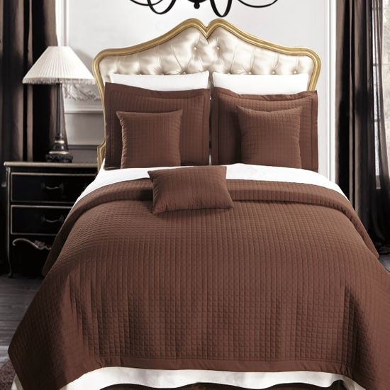 Luxury Chocolate Checkered Quilted Wrinkle Free Microfiber Multi-Piece Coverlets Set