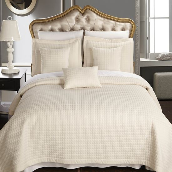 Luxury Ivory Checkered Quilted Wrinkle Free Microfiber Multi-Piece Coverlets Set