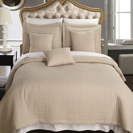 Luxury Linen (Beige) Checkered Quilted Wrinkle Free Microfiber Multi-Piece Coverlets Set