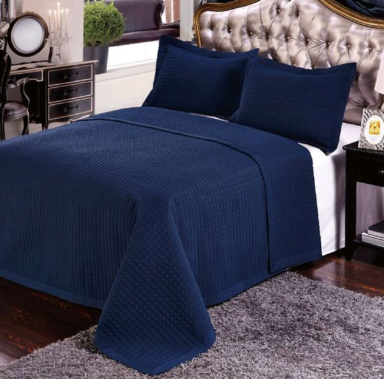 Luxury Navy Checkered Quilted Wrinkle Free Microfiber 3 Piece Coverlets Set