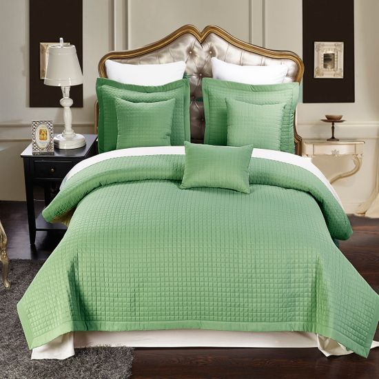 Luxury Sage Checkered Quilted Wrinkle Free Microfiber Multi-Piece Coverlets Set