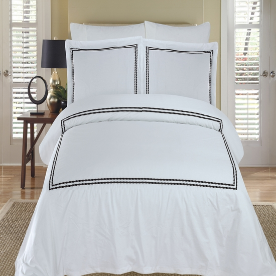 Maya White & Black Embroidered 100% Cotton 3-Piece Duvet Cover Set