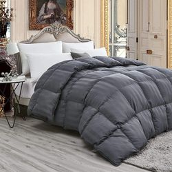 Luxurious Light Weight Goose Down Comforter Duvet, Exquisite Gray Stripe Design, 1200 Thread Count, 100% Egyptian Cotton Fabric, 750+ Fill Power, 50 oz Fill Weight