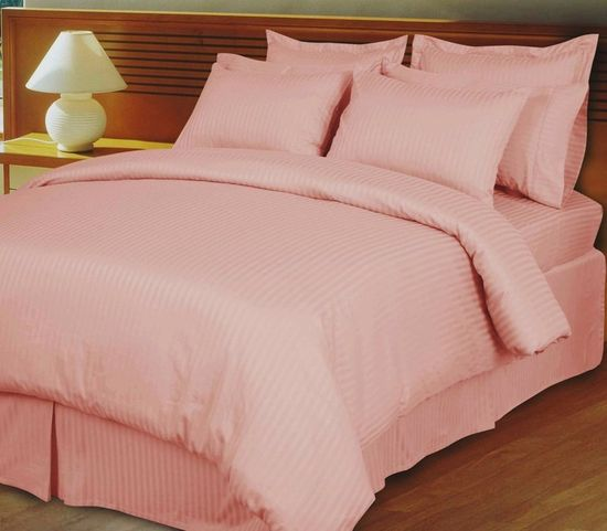 Pink/Blush Damask Stripe Down Alternative 4-PC comforter set, 100% Egyptian cotton, 600 Thread count