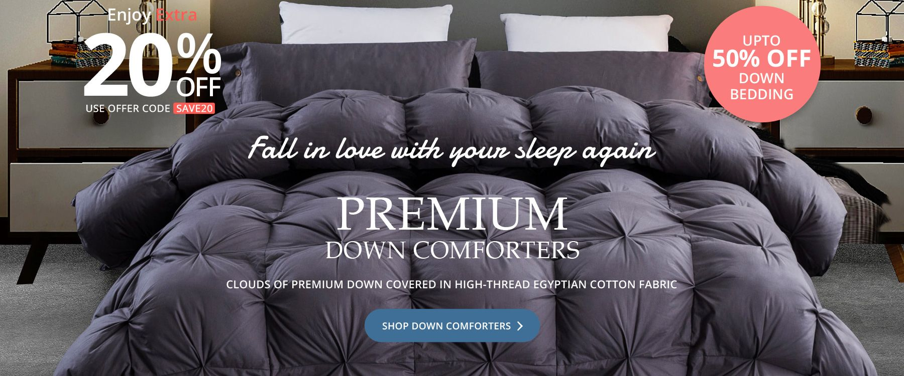 Premium Down Comforters - Clouds of Premium Down Covered In High-Thread Egyptian Cotton Fabric