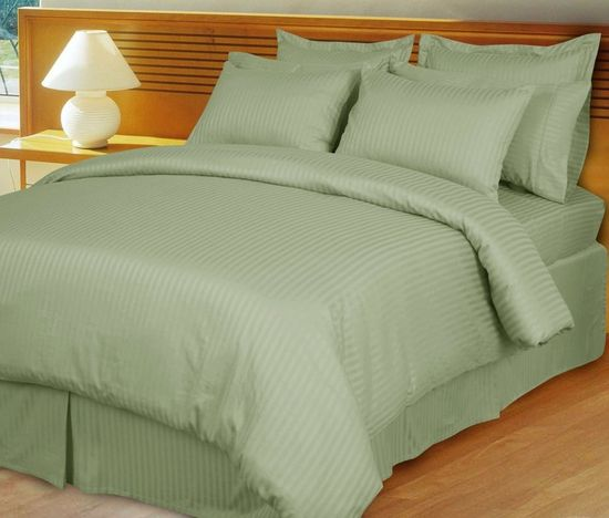 Sage/Green Damask Stripe Down Alternative 4-PC comforter Set, 100% Egyptian cotton, 600 Thread count
