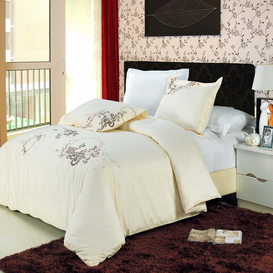 Sophia Embroidered 100% Cotton 3-Piece Duvet Cover Set