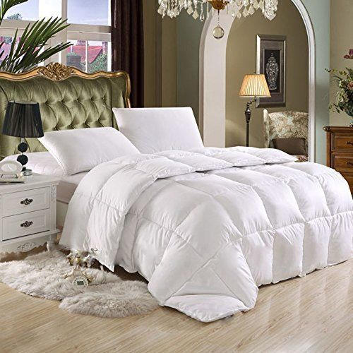 Luxurious Full/Queen Size Hard-to-FIND 80 Oz Fill Weight Goose Down Alternative Comforter, 600 Thread Count 100% Egyptian Cotton Cover, 750 Fill Power, Solid White Color