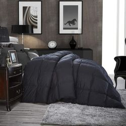 Luxurious All-Season Goose Down Comforter Duvet Insert, Classic Black, Premium Baffle Box, 1200 Thread Count 100% Egyptian Cotton Cover, 750+ Fill Power