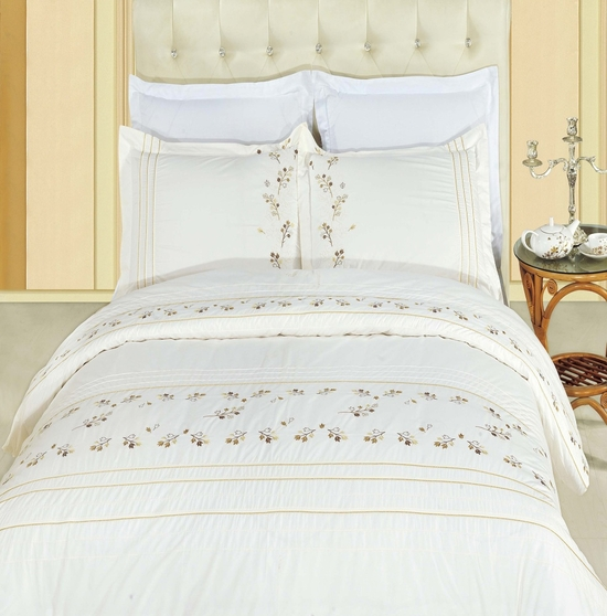 Tasneen Embroidered 100% Cotton 3-Piece Duvet Cover Set