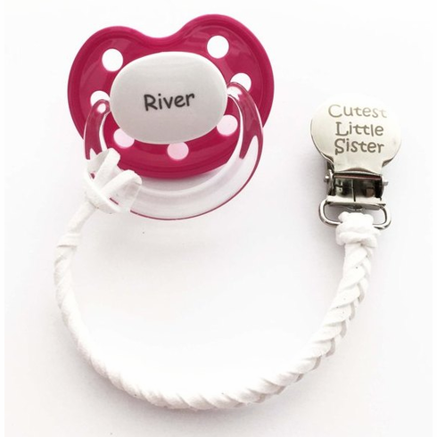 Engraved Leather Pacifier Clip +2 Personalized Pacifiers (*NUK® Shape)