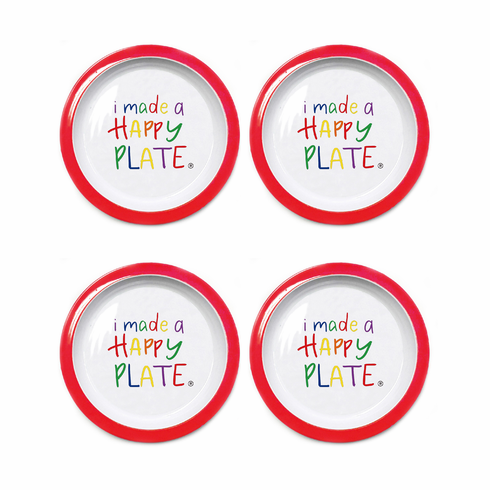 Happy Plate- Set of Four (Red Trim)