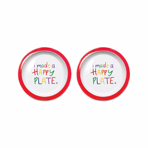 Happy Plate - Set of Two (Red Trim)