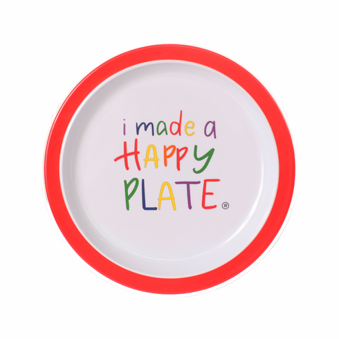 Happy Plate  - Red Trim