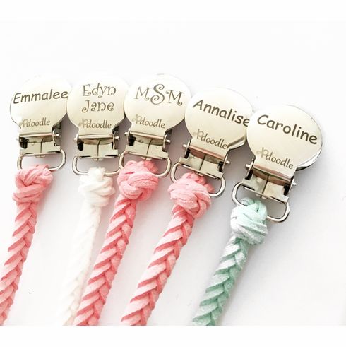 Leather Pacifier Clip (Engraved)