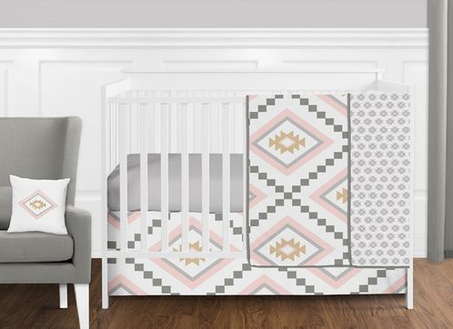 11 pc. Blush Pink and Grey Boho and Tribal Aztec Baby Girl Crib Bedding Set without Bumper by Sweet Jojo Designs - Click to enlarge