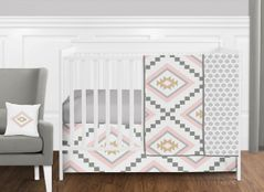 11 pc. Blush Pink and Grey Boho and Tribal Aztec Baby Girl Crib Bedding Set without Bumper by Sweet Jojo Designs