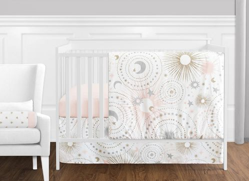 11 pc. Blush Pink, Gold, Grey and White Star and Moon Celestial Baby Girl Crib Bedding Set without Bumper by Sweet Jojo Designs - Click to enlarge