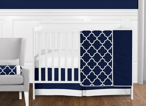 11 pc. Navy Blue and White Modern Trellis Lattice Baby Boy Crib Bedding Set without Bumper by Sweet Jojo Designs - Click to enlarge