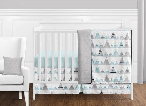 11 pc. Navy Blue, Aqua and Grey Aztec Mountains Baby Boy or Girl Unisex Crib Bedding Set without Bumper by Sweet Jojo Designs - Click to enlarge