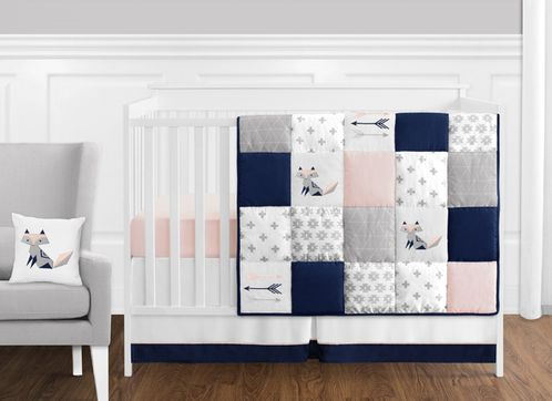 11 Pc Navy Blue Pink And Grey Patchwork Woodland Fox And Arrow Baby Girl Crib Bedding Set Without Bumper By Sweet Jojo Designs