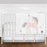 11 pc. Pink, Grey and Gold Unicorn Baby Girl Crib Bedding Set without Bumper by Sweet Jojo Designs