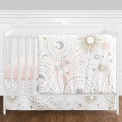 11 pc. Blush Pink, Gold, Grey and White Star and Moon Celestial Baby Girl Crib Bedding Set without Bumper by Sweet Jojo Designs