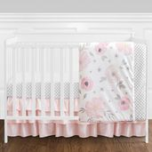 11 pc. Blush Pink, Grey and White Watercolor Floral Baby Girl Crib Bedding Set without Bumper by Sweet Jojo Designs - Rose Flower Polka Dot