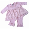 2pc Baby Girls Minky Dot Chenille Outfit