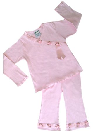 2pc Baby Girls Satin Ribbon Roses Outfit - Click to enlarge