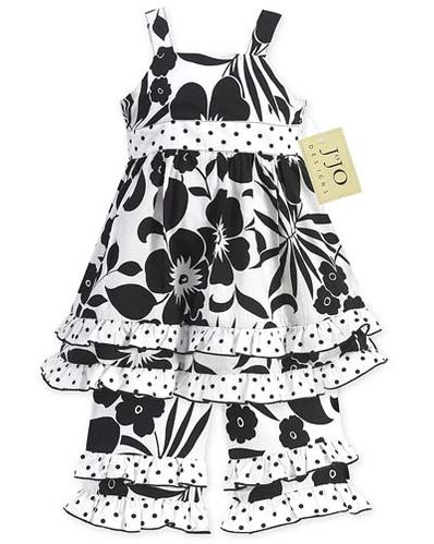 2pc Black and White Floral Polka Dot Baby Girls Outfit by Sweet Jojo Designs - Click to enlarge