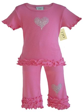 2pc Crystal Heart Capri Outfit by Sweet Jojo Designs - Click to enlarge